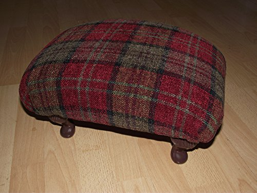Luxury pop under footstool in red tartan fabric. Small Queen anne style legs and thick upholstered foam top