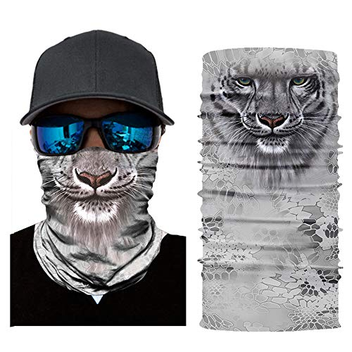 ZXGQF Face Shields, 3D Gesichtsschutz Tiergesicht Bandana Maske Schlauchschal Multifunktionale Kopfbedeckung mit UV-Beständigkeit Männer Frauen Geeignet für Laufen Radfahren Motorradfahren Angeln (G)
