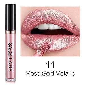 Fashlady™ 11 Rose Gold: Sace Senhora MetÁ Lico LÍ Quido Batom Matte Tonalidade Lip Gloss Maquiagem Gloss De Longa DuraÇ Ã O À Pr