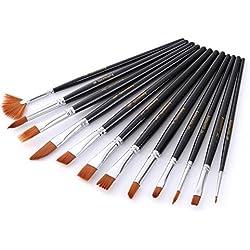 BJ-SHOP Set de Pinceles,Pincel de Pintura Cepillos de Pintura Profesional Art Multi-Forma Nylon Pincel de Pintura para el Cabello Acrilico Acuarela Aceite Artesania Rock Face Painting Pack de 12