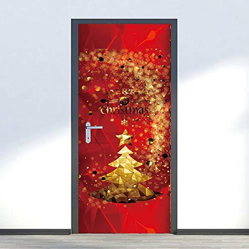 LtrottedJ Merry Christmas Rimovibile Porta Decorazione murale Natale casa  Decalcomania E 11937158d48
