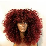 Femme en dentelle de cheveux humains sans colle Perruque lace front en Densité de 130% par couches Coupe avec bébé Cheveux Crépus bouclés Perruques brésilien Bordeaux courte