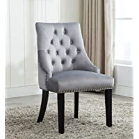 Tufted Velvet Fabric Studded Dining Chair Upholestered Accent Side Chair Victoria [ Grey * Light Grey * Blue * Black ] (Grey)