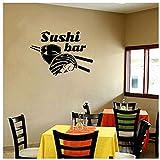 Stickers muraux Vinyle Decal Japonais Sushi Chef Chef Oriental Restaurant Cuisine Japonaise Pour Cuisine Sushi Bar 60X42Cm