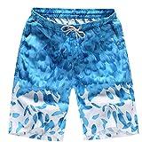 IZHH Herren Strandhose,Hawaii Hose Shorts Badehose Schwimmhose Kurze Hosen Schnell Trocknend Strand Surfen Laufen Schwimmen Wasserhose Baumwolle LäSsige Jogginghose (Himmelblau,L)
