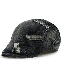 Roffatide Unisex Denim Bordado Ajustable Plano Gorra Sombrero de Boina  Chapelas e2cad5d1d9a