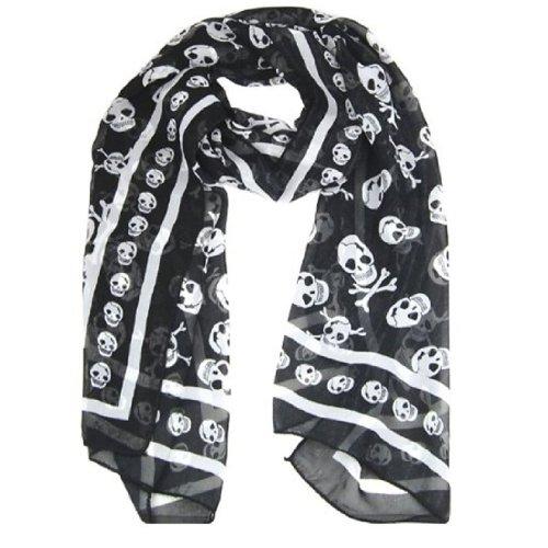 scialli - SODIAL(R) Chiffon di seta nero Sentirsi Skull Stampa sciarpa lunga dello scialle Scaf (Eterna Nodo)