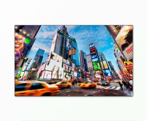 BERGER DESIGNS - Stadtbild xxl large günstig & modern (New York Life - 60x100 cm) Bild auf echter Leinwand und Keilrahmen. Picture Style Motiv (Stadt New York City Manhatten Taxi Gebäude Straße) Foto als Bild. 100% Made in Germany - Qualität aus Deutschland.