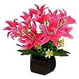 #3: Thefancymart Desktop artificial Lilly Flower arrangement with wood pot (8 inchs/20 cms)