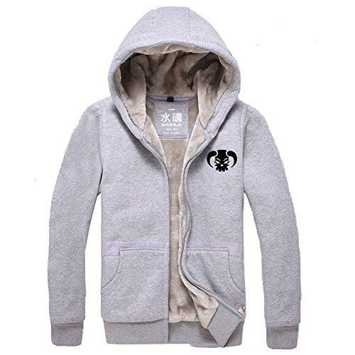 Kostüm Whitebeard Cosplay - BIRDEU Winter Hoodie Herren Plus Samt Dicke Jacke Sweatshirt Whitebeard Pullover Hoody Zip Kleidung für Anime Cosplay Kostüm (XXL, Grau)