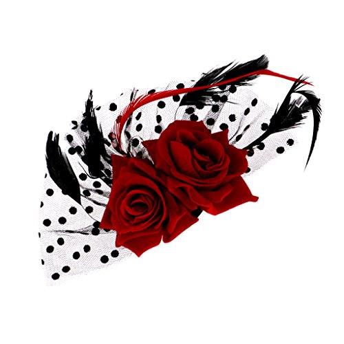 Blesiya Braut Fascinator Rote Rose BlumenHaarspangen Hochzeit Kopfbedeckungen