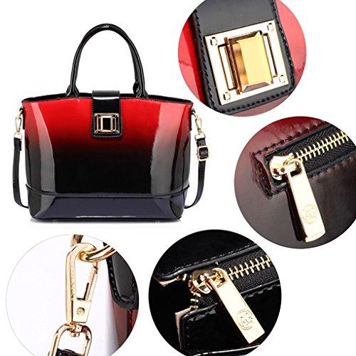 LeahWard Damen Kunstleder Qualitäts handtasche Frauen Mode lang Einkaufstasche Berühmtenart Qualität Taschen CWS00329 Rot Zwei Teins PATENT Taschen