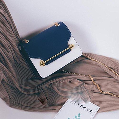 BUKUANG Femminile Del Sacchetto Selvaggio Messenger Bag Borsa Tracolla Piccola Catena Pacchetto Quadrato,Black Blue