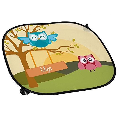 Eulen Auto-Sonnenschutz mit Namen Maja und schönem Eulenbild für Mädchen - Auto-Blendschutz - Sonnenblende - Sichtschutz