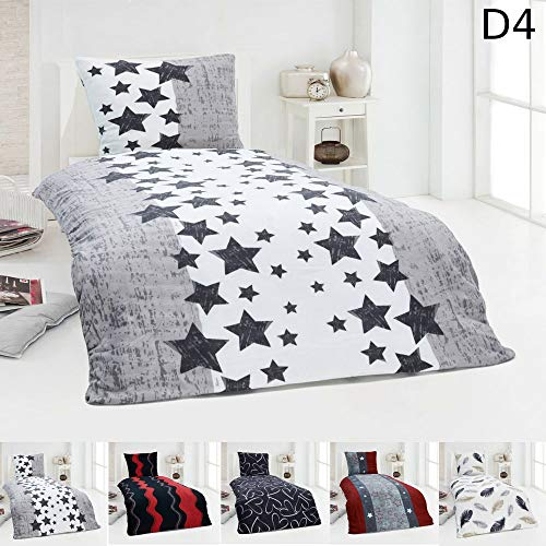 Dreamhome  Warme Winter Microfaser Thermo Fleece Bettwäsche 135x200 155x220 Bettbezug Modern, Maße:135 cm x 200 cm, Design - Motiv:Design 8