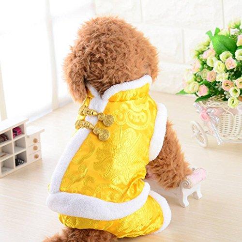 Seide Samt Rock (Hundebekleidung, Seide Satin Tang Suit Plus Gepolsterte Hochzeit Vier Füße Kleidung Weihnachten Chinesisches Neujahr Winter Warme Mantel Haustier Kleiner Hund Siamese Jacke 5 Größe)