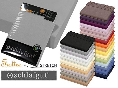 Spannbetttuch von schlafgut - Frottee Stretch aus 75% Baumwolle & 25% Polyester - in 4 Größen & 26 Farben, ca. 90-100 x 190-200 cm, graphit