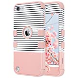 ULAK iPod 5 case, iPod Touch 6 Case 3in1 Hybrid Impact Shockproof Soft Silicone Bumper Case Hard PC Protective Cover for Apple iPod Touch 5th 6th Generation (Minimal Stripes Rose Gold)
