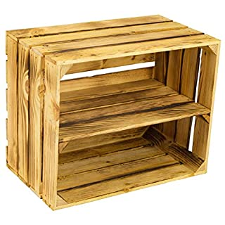 Solid Shoe/Book Storage Crate, Made From Fruit And Wine Crates, Dimensions: Approx. 50 x 40 x 31 cm, Wooden Crates, Decorative Crates, Shelves Geflammt