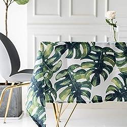 Drizzle Mantel para Mesa de Cocina o Salón Monstera Plantas Verdes Hojas de Palma Rectangular Impermeable Lavable Diseño de Comedor Decoración del Hogar (39 * 55in/100 * 140cm)