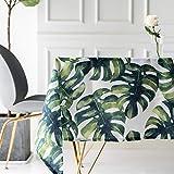 Drizzle Tischdecke Monstera Blätter Grüne Palme Pflanzen Rechteck Platz Wasserdicht Zusammenklappbar Polyester Baumwolle Gärten Für Essen Kaffee Küche (55 * 55in/140 * 140cm)