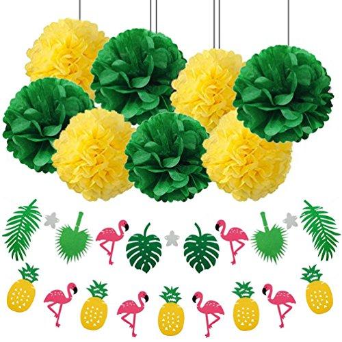 Anseke Sommer Party Deko, Tropical Party Banner Papier Pompons Dekoration mit Einer Flamingo-Ananas Girlande für Geburtstag Hawaii Grill Garten Party