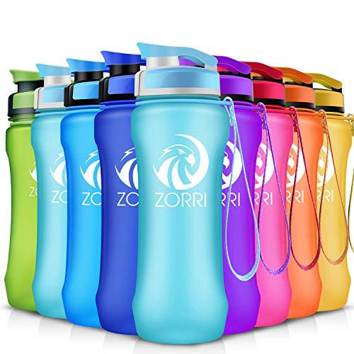 ZORRI Sport Trinkflasche auslaufsicher, BPA Frei & Umweltfreundlich Wasserflasche Für Kinder & Frauen, One Handed Open & Tritan, Für Gym/Outdoor/Camping - Hellblau - 600ml