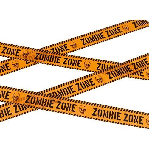d - 6 m - Untoter Warnband gruselige Partydeko Caution Absperrkette Horror Dekoration Zombie Zone Absperrband (Zombie Absperrband)