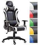 CLP Bürostuhl JARAMA mit Kunstlederbezug, Max. belastbar bis 136 kg, Gaming Stuhl, Gaming Chefsessel mit/Ohne Fußablage, Wippmechanismus, Schwarz/Weiß, Ohne Fußablage