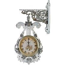 Reloj de pared de doble cara clásico muerto con elegante reloj de doble cara ( Color : Blanco )