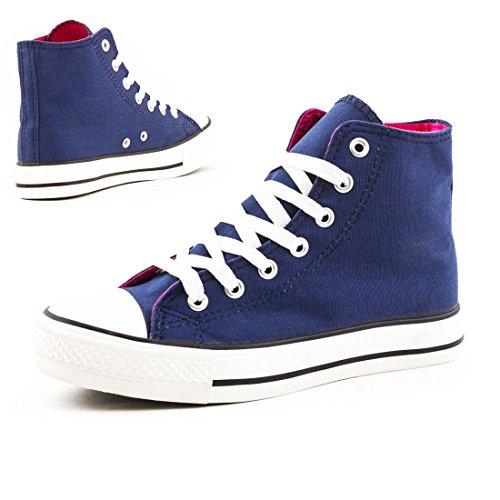 Damen High Top Turnschuhe Sneaker Textil Canvas Schuhe Blau/Pink
