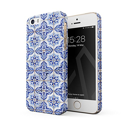 BURGA Phone Case Compatible With iPhone 5 / 5s / SE, Blue City Moroccan Tiles Pattern Mosaic Thin Design Durable Hard Plastic Protective Case