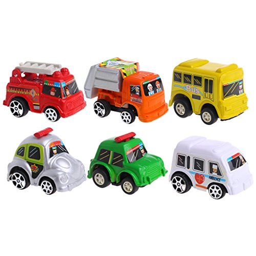 JAGENIE 6 Stücke Auto Spielzeug Auto Baby Mini Cars Cartoon Zurückziehen Bus LKW Kinder Jungen Geschenke Weihnachten Neujahr Geschenk, 1 stück, Gelegentliche Anlieferung