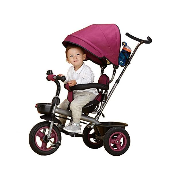 BGHKFF 4 In 1 Childrens Tricycles 6 Months To 5 Years Blockable Rear Wheels Kids Tricycle Folding Sun Canopy Adjustable Handle Bar Child Trike Maximum Weight 25 Kg,Purple BGHKFF ★Material: Steel frame, suitable for children from 6 months to 5 years old, the maximum weight is 25 kg ★ 4-in-1 multi-function: convertible into stroller and tricycle. Remove the hand putter and awning, and the guardrail as a tricycle. ★Safety design: Golden triangle structure, safe and stable, front wheel clutch, will not hit the baby's foot; 2 point seat belt + guardrail; rear wheel double brake 9