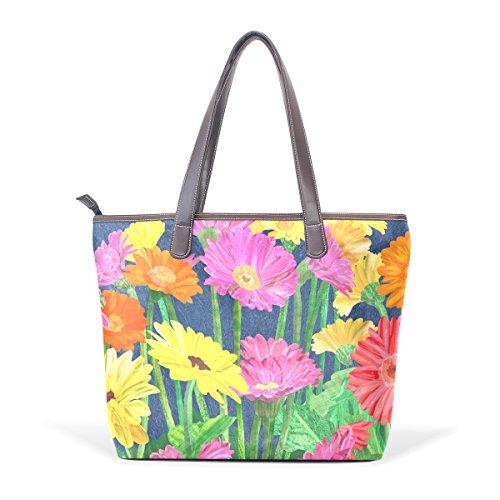 COOSUN Frauen Gerber Daisy PU-Leder Grosse Handtasche Griff Umhängetasche L (33x45x13) cm muticolour -