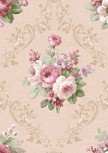Tapete Romantik mit Rose Rosa und Pink mit Blümchen Distel auf Boden taupe gewebt. Mirtilla 5018