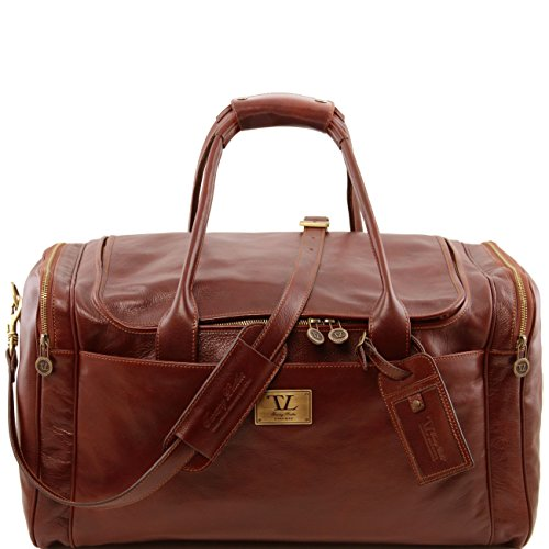 Tuscany Leather TL Voyager Sac de voyage en cuir avec poches aux côtés - Grand modèle Marron