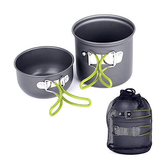 3nh 1Pc Outdoor Camping Cookware Aluminum Pots Pans Bowls with Foldable Handleset Hiking Picnic Cooking Set