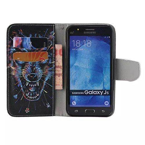 Guran® PU Leder Tasche für Apple iPhone SE / iPhone 5/5S (4 Zoll) Smartphone Flip Deckung Stehen Funktion und Karte Slot Case-Drei Elefanten color15
