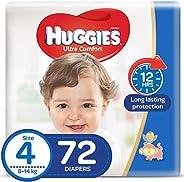 HUGGIES Ultra Comfort Diapers, Size 4, Jumbo Pack, 8-14 kg, 72 Diapers