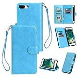 Philip Peacoc für iPhone 7/8 Plus Hülle, PU-Leder Wallet Case mit 9 Kartensteckplätzen, Horizontal Flip Case, Magnetverschluss Ledertasche mit Geldfach für iPhone 7/8 Plus (Color : Blue)
