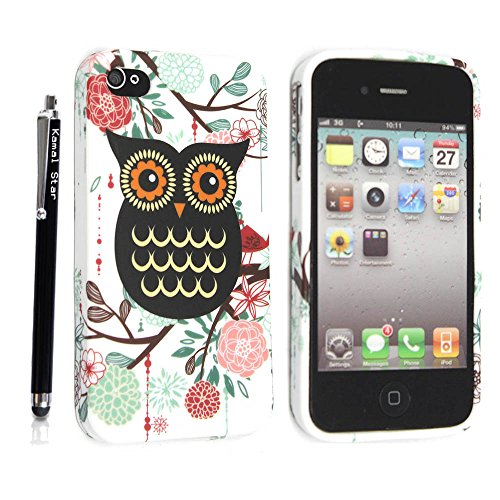 APPLE IPHONE 4 4S SILICONE GEL SKIN CASE COVER+FREE STYLUS (MULTI DOG CAT PAW FOOT) Owl with Flowers