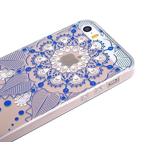 Etsue TPU Schutzhülle für iPhone 6S/iPhone 6 4.7 Zoll Silikon Handyhülle, Wunderschön Besondere Entwurf Muster TPU Silikon Handytasche Weiche Kristall Klar Rahmen Ultradünnen Rückseite Tasche Etui Sch Mandala Floral,Blau