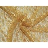 Tela (encaje, 114 cm de ancho), diseño floral, color dorado