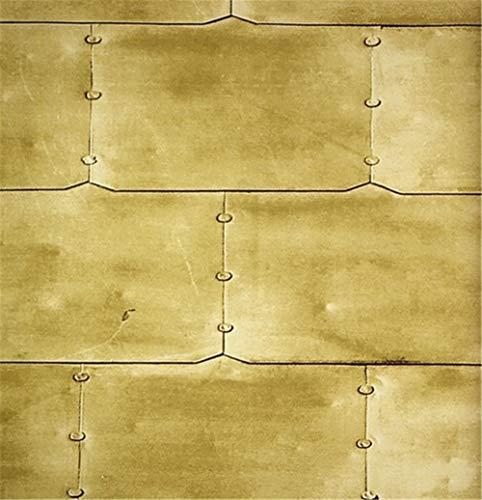 ZCHENG Tapete Retro Metallic Grau Zement Staub Eisen Metall Nieten Leder Khaki Tapete, A Metallic-woven Leder