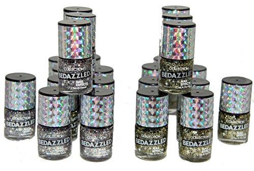 24 x Vernis à ongles Effets Collection Bedazzled | 2 paillettes nuances | RRP £72 | de Job Lot