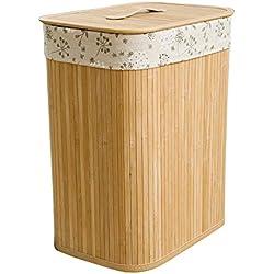 Etanby Panier à Linge Pliant en Bambou,Seau de Rangement Pliant Grand avec Compartiment à Vêtements,Idéal pour Les Chambres à Coucher, buanderie, débarras