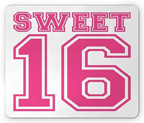 WYICPLO Sweet 16 Mouse Pad, Teenage Girl Concept College Style Sweet Sixteen Birthday Bold Letters, Standard Size Rectangle Non-Slip Rubber Mousepad, Hot Pink and White
