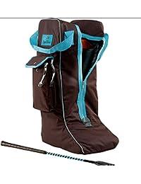 funda para botas color Chocolate/turquesa, bolsa de botas de montar, funda parabotas de equitación