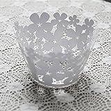 joyliveCY 50Pcs Pearly Papier Klee Entwurf Vine Spitze Cup Cake Wrappers Tischdeko Weiß